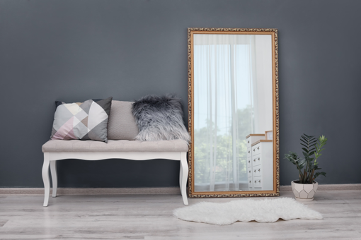 large mirror to make your home look more expensive